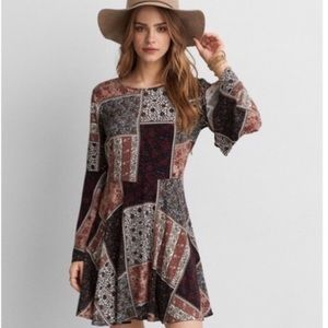 AEO Bell Sleeve Patchwork Boho Dress